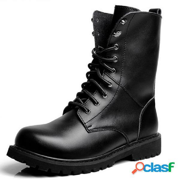 Botas negras casuales clásicas de empeine alto con cordones para hombres