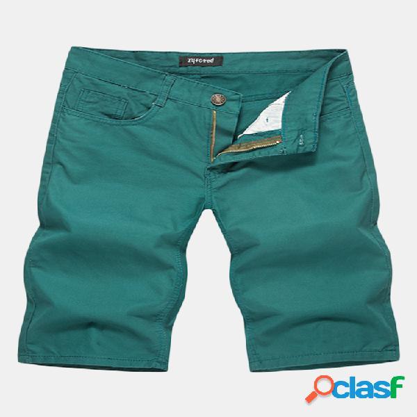 Primavera verano algodón transpirable color sólido rodilla longitud pantalones cortos casuales para hombres