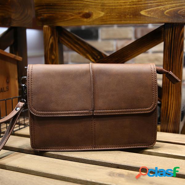 Negocio retro embrague bolsa pu gran capacidad monedero monedero casual teléfono bolsa para hombres