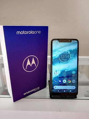 Motorola one 64gb en caja + cargador + funda