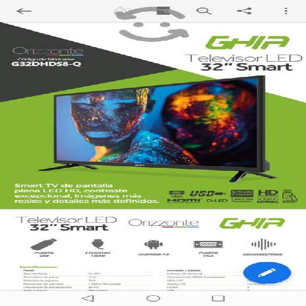 Televisión led ghia - pantalla de 32 - smart tv -