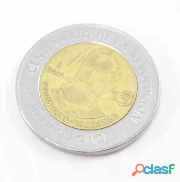 Venustiano Carranza 5 Pesos Centenario Revolucion Usado