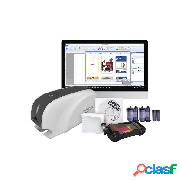 Idp smart31-sk impresora de credenciales, sublimación, una cara, 300 x 300 dpi, usb- incluye cinta/tarjetas pvc/software/limpieza