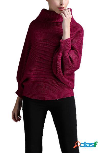 Suéter tejido con manga murciélago con cuello vuelto