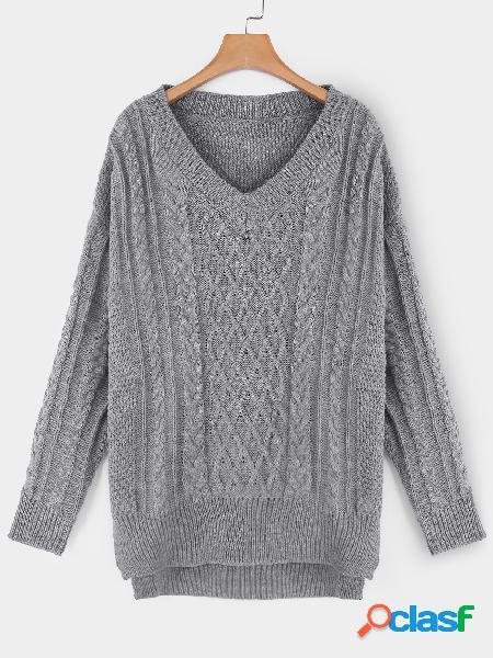 Suéter tejido de manga larga con cuello en v y diseño de abertura en gris