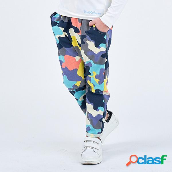 Colorful camuflaje casual para niña y niño pantalones para 2-8 años