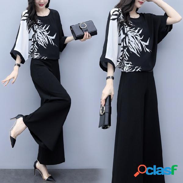 Traje de impresión de pierna ancha negro de dos piezas para mujer pantalones traje de moda casual traje femenino de gran tamaño