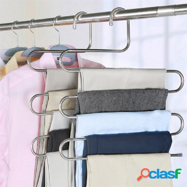 Ropa tipo s pantalones pantalones rack rack de almacenamiento multicapa armario guardar espacio acero inoxidable percha