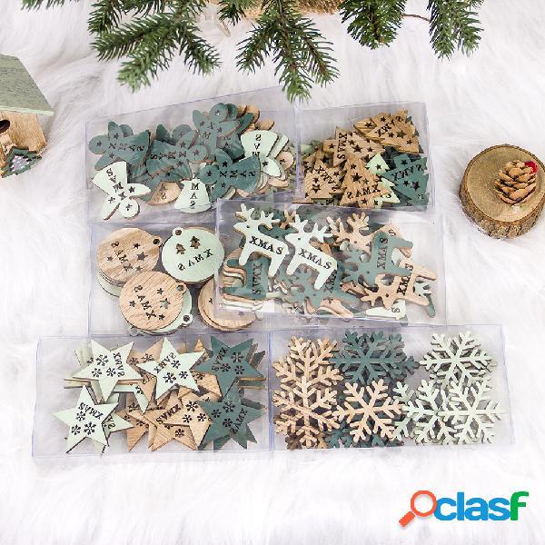 24 piezas creativas de madera hueca adorno de navidad decoración del árbol de navidad diy decoración de navidad