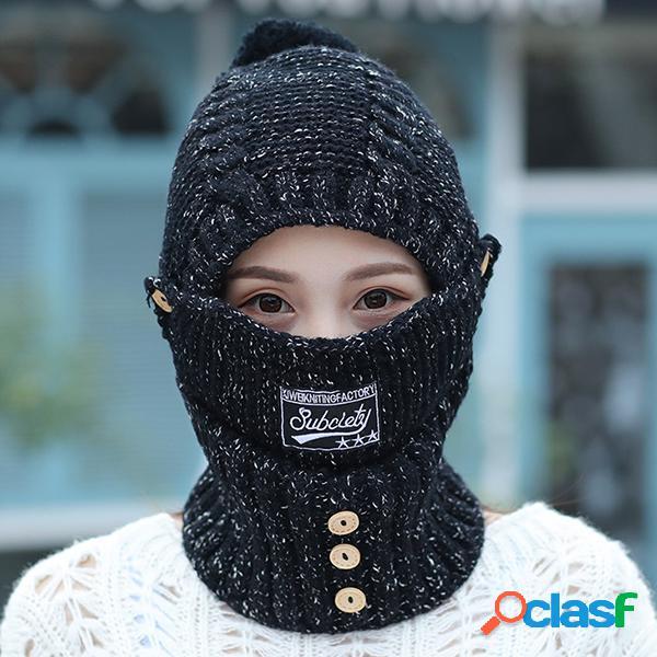 Las mujeres máscaras cálidas de invierno tejen el sombrero bufanda del cuello al aire libre que monta a prueba de viento más el sombrero de la capilla del terciopelo