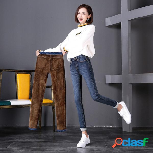 Plus jeans temporada femenina nuevas medias elásticas de cintura alta gruesas nueve puntos pantalones