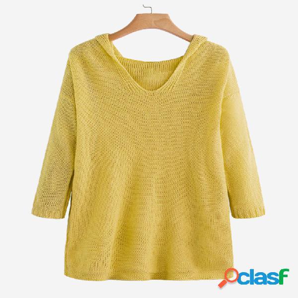 Suéter tejido con capucha de color liso suelto longitud