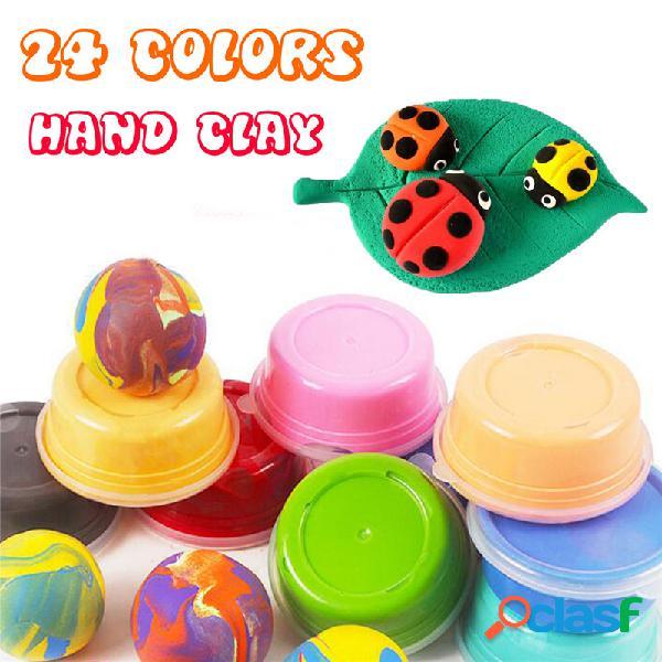 24 colores brillantes cartón instalado super ligera mano arcilla delgado juguetes educativos
