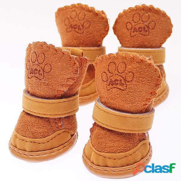 Winter cat dog shoes pet dog warm snow boots suede pet shoes calzado