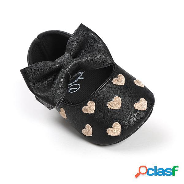 Zapatos para bebés recién nacidos bebe first walkers princess big bow cuna en forma de corazón plana para 0-24m