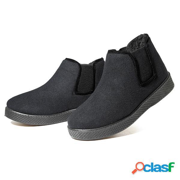 Zapatos cómodos de forro de felpa de los hombres botas de gamuza sintética