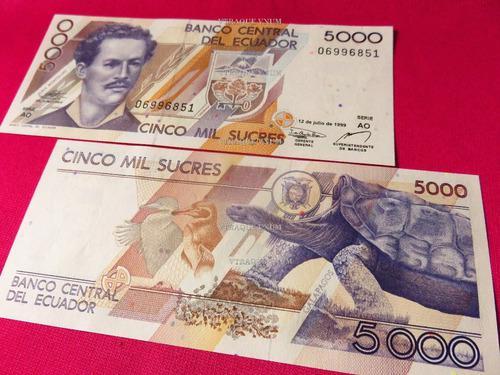Aa#206 billete tortuga galapagos 5000 sucres ecuador 1999