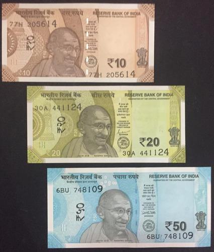 Colección 3 billetes de india actual