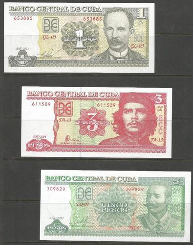 Colección de 3 billetes de cuba