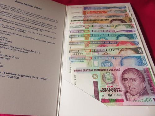 Coleccion 11 billetes peru inti 10 a 1,000,000 1987-1990