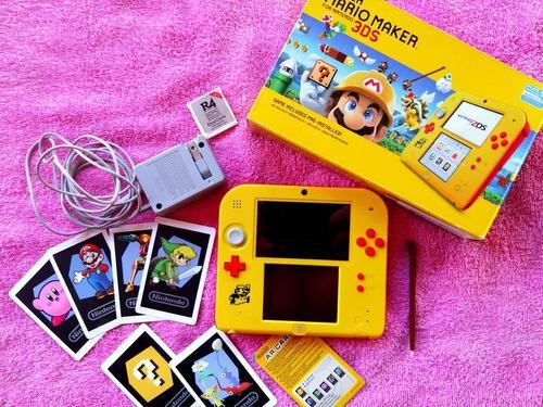 Nintendo 2ds seminuevo+ mario maker incluido + tarjeta r4