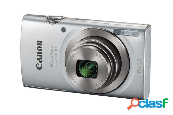 Cámara digital canon powershot elph 180, 20mp, zoom óptico 8x, plata