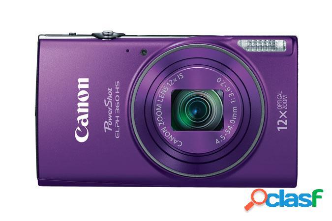 Cámara digital canon powershot elph 360 hs, 20.2mp, zoom óptico 12x, morado