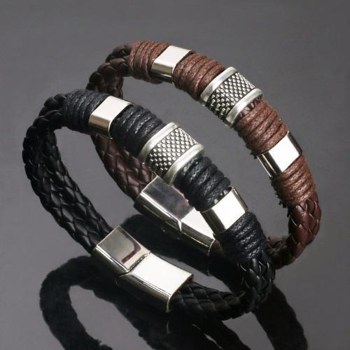 1 pulsera cuero sintetico acero cuerda yute natural hombre