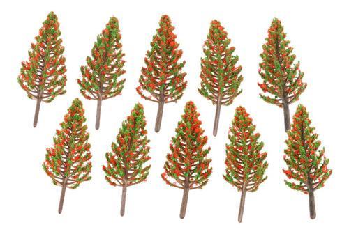 10 pedazos modelo árbol de pino con flor roja ho oo escala