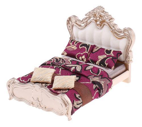 1/25 dollhouse cama doble de estilo europeo miniatura