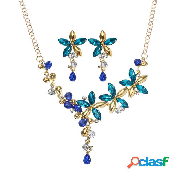 De lujo de oro de color caída hoja de joyería de flores establece para las mujeres de boda con diamantes de imitación de colores