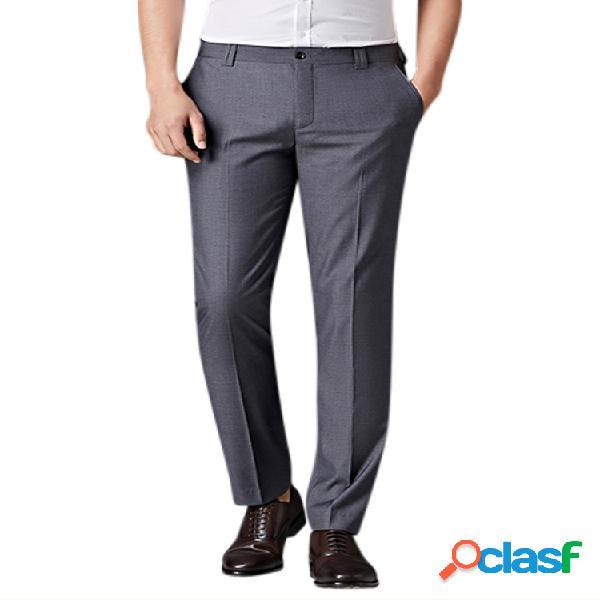 Hombre primavera verano frente plano vestido pantalones recto delgado fit business traje casaul pantalones