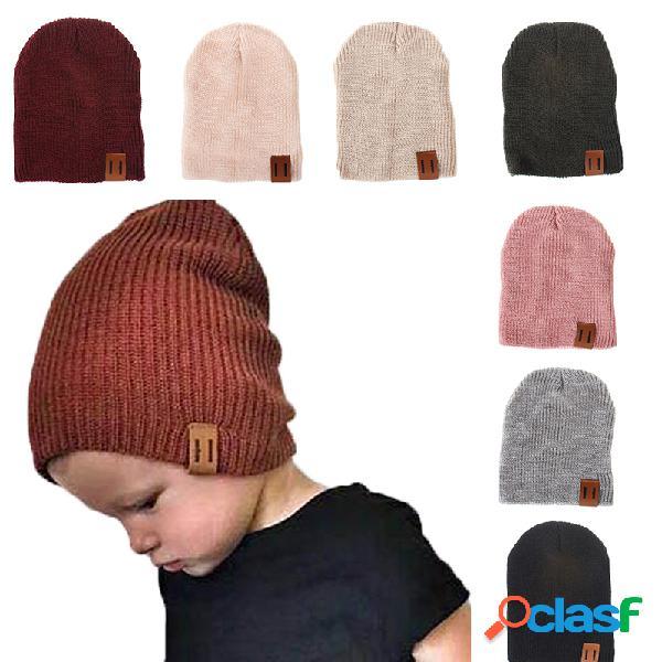 Estilo fresco soft gorro de gorro elástico de algodón de punto para niños de 1 a 5 años
