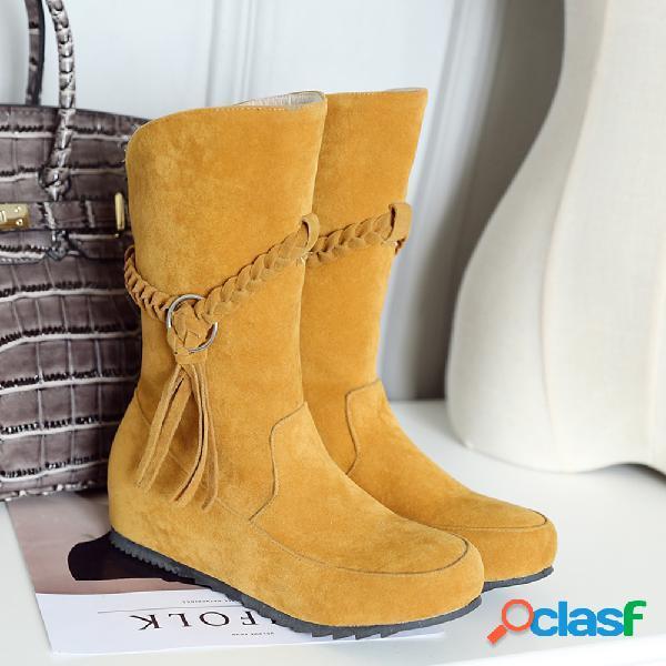 Botas de invierno de gran tamaño con borla de gamuza y forro cálido para mujer botas de invierno