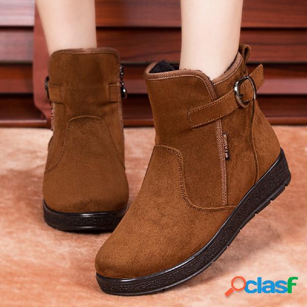 Mujer zapatos de invierno faux fur warm zip cotton tobillo femenino botas