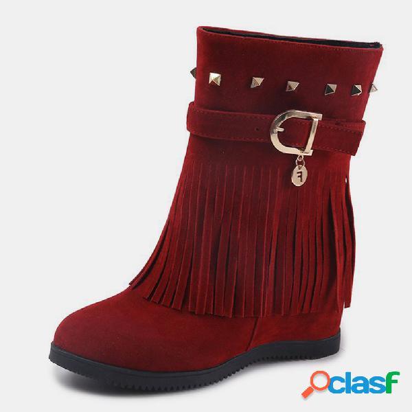 Mujer remache de borla de ante de invierno medio plano botas