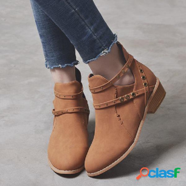 Mujer cómodo strappy block tacón cremallera chelsea tobillo botas