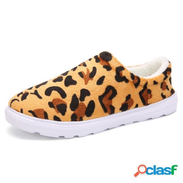 Leopardo de gamuza de gran tamaño patrón tobillo plano con forro cálido mujer botas