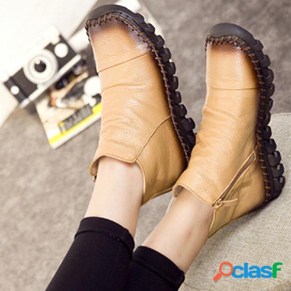 Costura a mano de cuero con suela de goma antideslizante cremallera en el tobillo botas