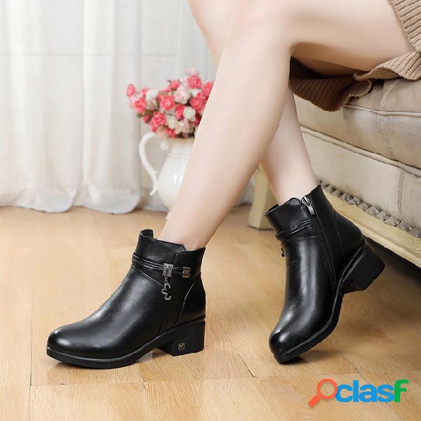 Mujer soft negro metal decoración cremallera tobillo tacón grueso botas