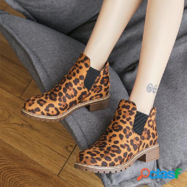 Mujer tobillo redondo con elástico de leopardo banda bloquear el tobillo botas