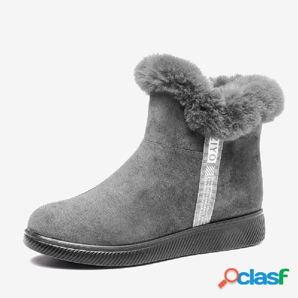 Mujer invierno cálido felpa forro ante cremallera plana tobillo botas