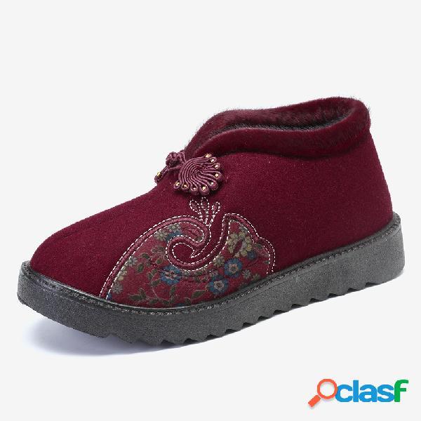 Mujer zapatos madre tobillo antideslizante de algodón de felpa de invierno botas