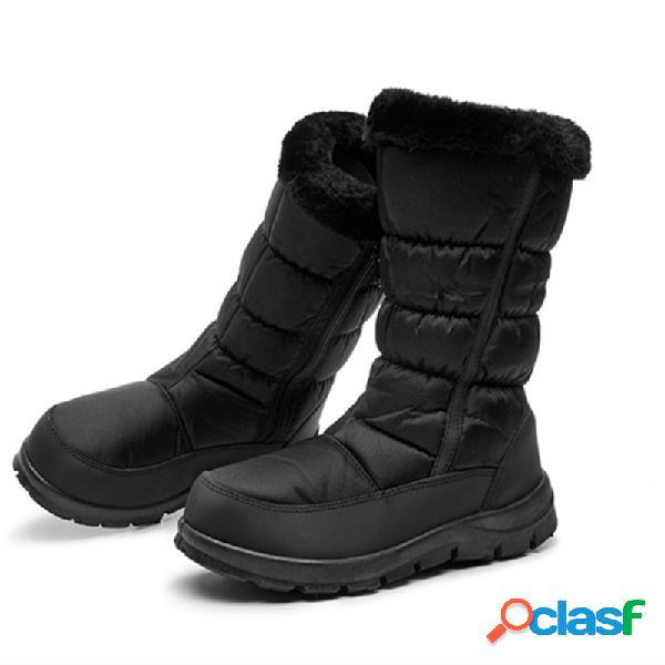 Mujer invierno cálido felpa antideslizante media pantorrilla negra botas