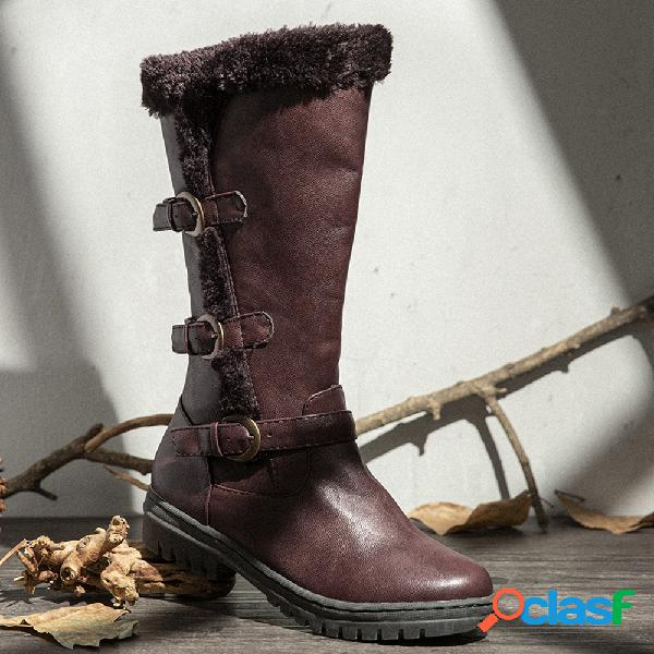 Mujer invierno microfibra caliente felpa cremallera nieve rodilla alta botas