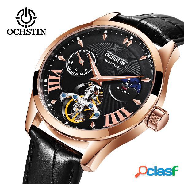 De lujo para hombre mecánico relojes de pulsera luminoso impermeable cuero casual hombre reloj