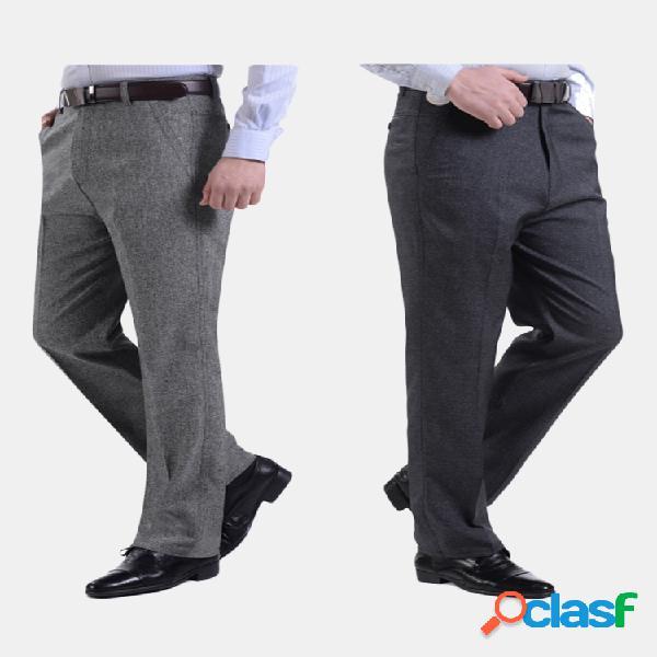 Hombre primavera verano ropa de negocios vestido pantalones casual soft pantalones largos de lino