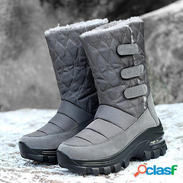 Mujer al aire libre forro de felpa cálido de invierno gancho plataforma de bucle nieve media pantorrilla botas