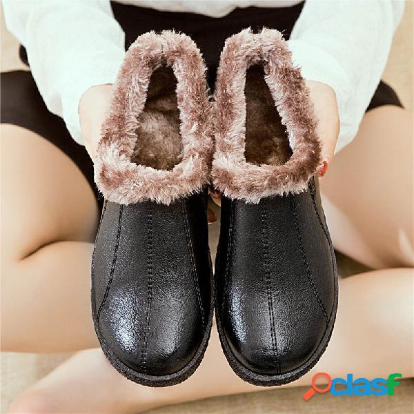 Mujer zapatos de madre forro de felpa de invierno antideslizante corto botas