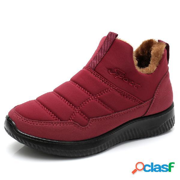 Invierno impermeable antideslizante forro cálido, ligero, sin cordones, para mujer botas
